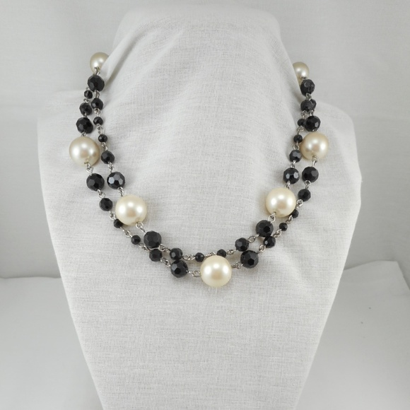 150fd0de4b555 Gorgeous 2 Strand Black Glass Faux Pearl Necklace